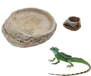 Tfwadmx Reptile Feeding Bowl,Resin Lizard Food Water Dish Rock Feeder for Leopard Gecko Beared Dragon Spider Scorpion Turtle Chameleon-(2Pcs)