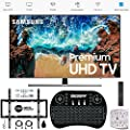 "Samsung 65"" NU8000 Smart 4K UHD TV 2018 Model (UN65NU8000FXZA) with Wall Mount Ultimate Bundle Kit for 32-60 inch TVs, Wireless Backlit Keyboard & SurgePro 6-Outlet Surge Adapter"