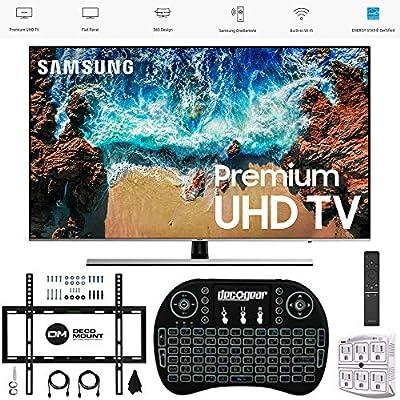 "Samsung 65"" NU8000 Smart 4K UHD TV 2018 Model (UN65NU8000FXZA) with Wall Mount Ultimate Bundle Kit for 32-60 inch TVs, Wireless Backlit Keyboard & SurgePro 6-Outlet Surge Adapter"