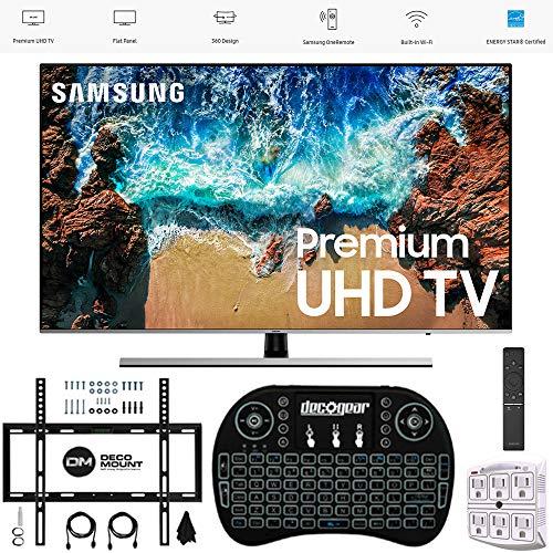 "Samsung 75"" NU8000 Smart 4K UHD TV 2018 Model (UN75NU8000FXZA) with Wall Mount Ultimate Bundle Kit for 32-60 inch TVs, Wireless Backlit Keyboard & SurgePro 6-Outlet Surge Adapter"