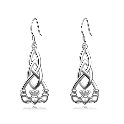 e7f3e20f5 Image Unavailable. Image not available for. Color: Claddagh Celtic Dangle  Earrings ...