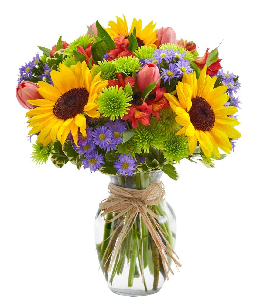From You Flowers - European Floral Garden - Sunflowers, Pink Tulips, Green Poms (Free Glass Vase Included) Measures 12''H by 10''L
