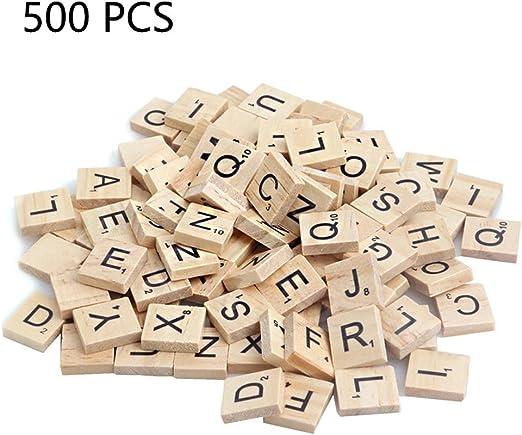 lvedu 100 piezas de madera alfabeto carta azulejos negro Scrabble letras números Crafts juguete educativo para niños 500 PCS amarillo: Amazon.es: Hogar