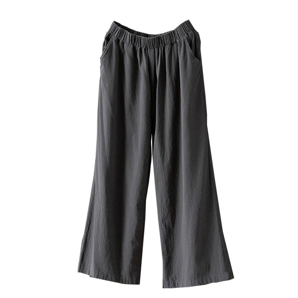 Berimaterry Sommerhose Damen Leinenhose mit Elastische Taille Freizeithose Einfarbig Casual Lose Hose Gro/ße Gr/ö/ße Hohe Taillen Wide Leg Hosen Yogahose