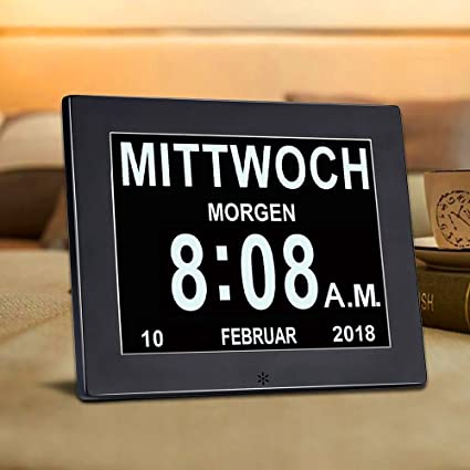 superworld® Puesta nivel de metal 8 Inch reloj digital calendario con fecha, – Funda