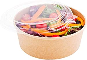 Bio Salad Container Round Clear Plastic Lid - Fits 25 oz - 6