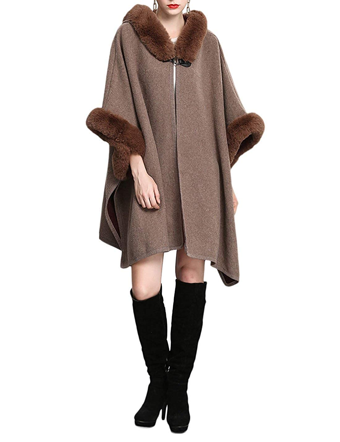 1 NICESOUL Women Oversized Hooded Fur Collar Cashmere Feel Poncho Capes Outwear Cloak Coat