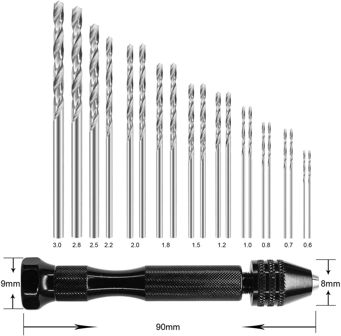 Micro Mini Twist Drill Bits Set with Precision Hand Pin Vise Rotary Tools for Wood Pin Vise Hand Drill Bits 20PCS Plastic etc Jewelry 0.6-3.0mm