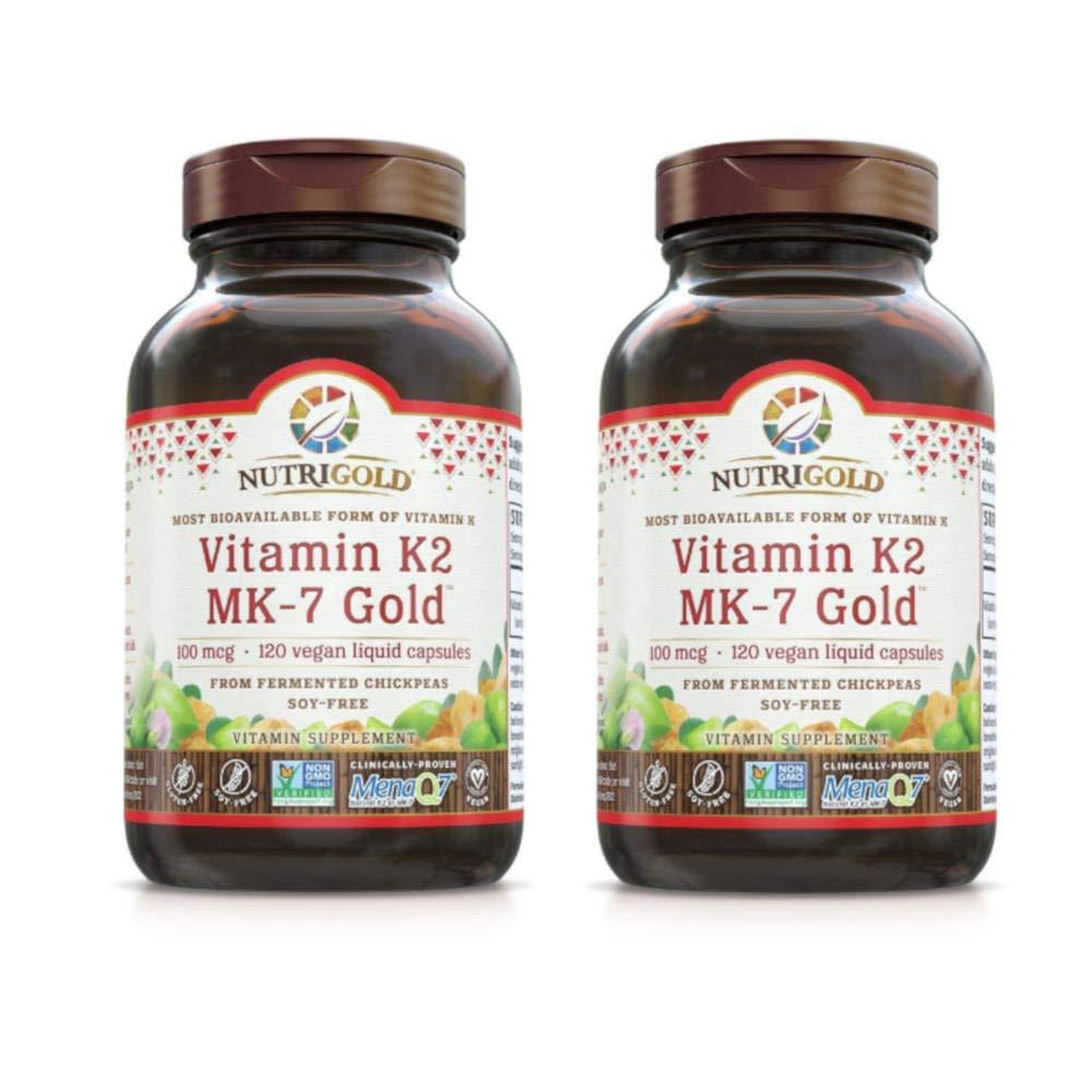 Nutrigold Most Bioavailable Form of Vitamin K2 MK-7 Gold 100 mcg (120 Vegan Liquid Capsules) Pack of 2
