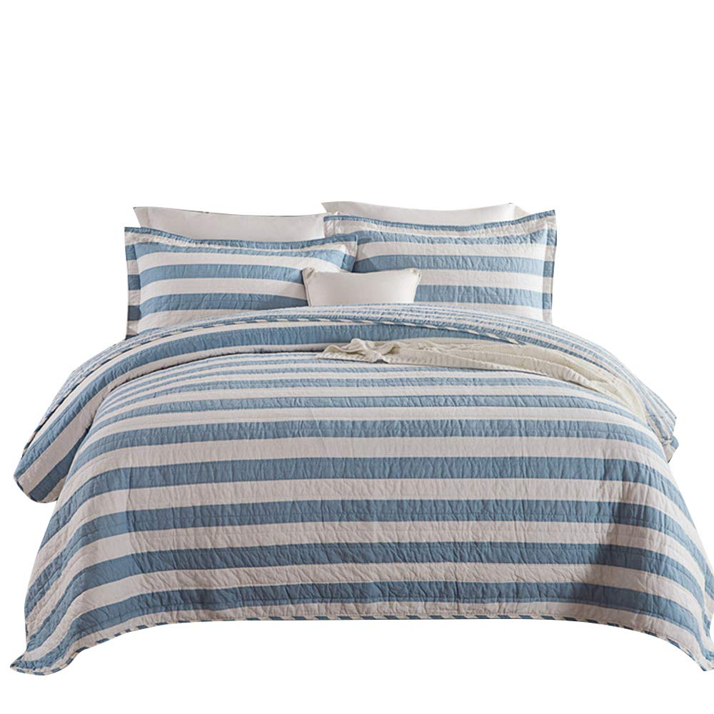 VClife Bettüberwurf Tagesdecke 100% Baumwolle Schlafzimmer Bettdecke Kuscheldecke Bett Überdecke Gestreift Steppen Decke (Ohne Kissenbezug) Blau Weiß 230 x 250cm