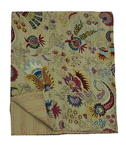 My Craft Palace Beige Indian Hand Stitched Kantha Blanket Queen Size Cotton Quilt Unique Crown Design Bedspread