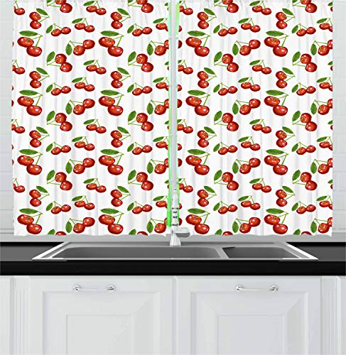 Ambesonne Fruit Kitchen Curtains, Cherry Pattern Design Fresh Berry Fruit Summer Garden Macro Digital Print, Window Drapes 2 Panel Set for Kitchen Cafe, 55 W X 39 L Inches, Red Green and White