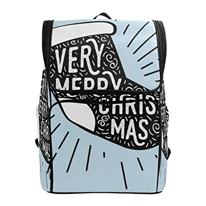 718208d3cca7 Amazon.com: Backpack for Women Men Teen Girl Boy Christmas Blue ...