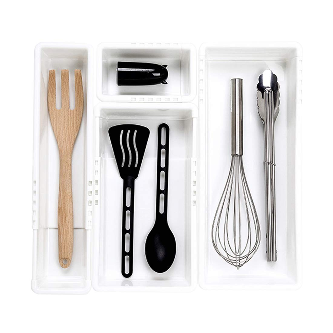 SHOW-WF Plastic Cutlery Tray for Kitchen Drawers Insert Various Extendable Sizes Compartment Utensil Holder,for Cutlery/Craft Supplies/Jewellery,Combination1