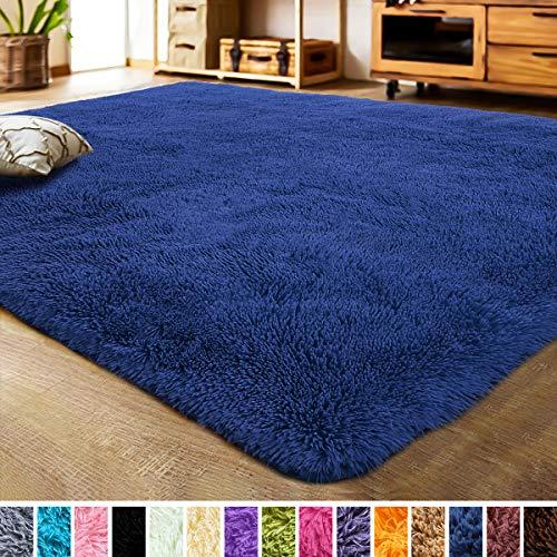 LOCHAS Luxury Velvet Bedroom Rugs Living Room Carpet, Fluffy, Super Soft Cozy, Bright Color, High Pile, Cute Area Rugs for Girls Room, Kids, Nursery and Baby (4x5.3 Feet, Indigo)