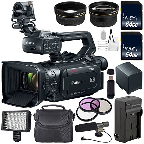 Canon XF405 Camcorder 2212C002 + 64GB Memory Card + BP-820 Replacement Lithium Ion Battery + 58mm 3 Piece Filter Kit + Condenser Mic Bundle