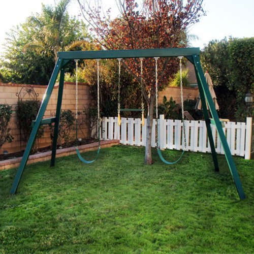 Congo Swing Central 3 Position Swing Set - Green Low Maintenance Swing Set -