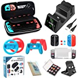 Bundle Accessories Kit for Nintendo Switch, OIVO 12 in 1 Accessory Kit, Controller Charging Dock, Carry Case, Playstand, Case, Joy-Con Grips and Wheels, Game Card Case, Cover Cases, Caps