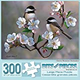 Bits Pieces - 300 Large Piece Jigsaw Puzzle Adults - Cherry Blossom Chickadees
