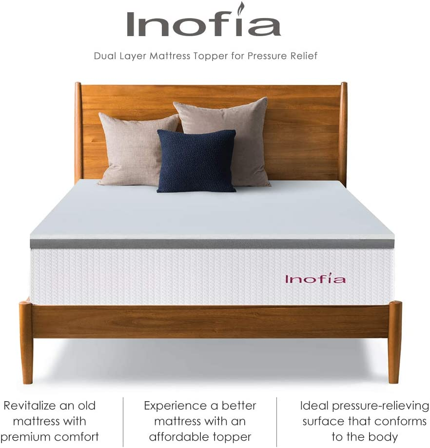"""100-Night Risk-Free Trial Dual Layer Foam Support System for Rest Easy Inofia Single Mattress Topper Latex Foam High Elasticity 2/"""" LATEXPUR Bed Topper Pressure Relief 90x190cm"""