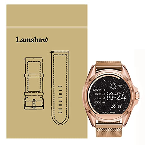 Lamshaw Magnetic Milanese Loop Stainless Steel Magnet Closure Lock Replacement Band for Michael Kors Smartwatch (Wrist (6.5-9