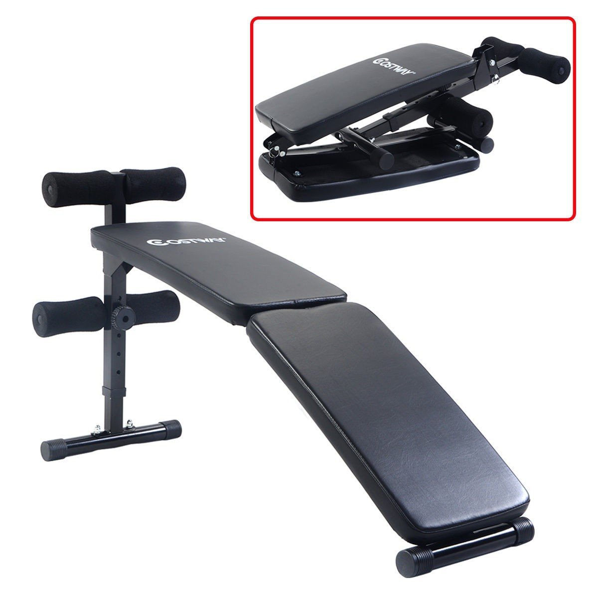 Adjustable Folding Arc-shaped Sit Up Bench Gym Home Exercise Fitness Workout