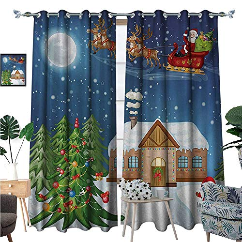 BlountDecor Christmas Thermal Insulating Blackout Curtain Classical Xmas Scenery Santa Delivering Presents with Rudolf The Red Nosed Reindeer Patterned Drape for Glass Door W96 x L108 Multi