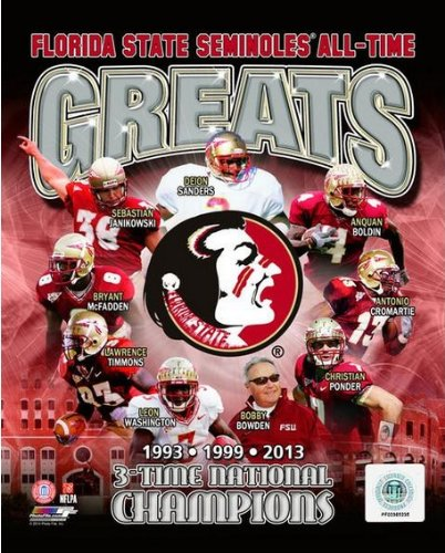 Florida State Seminoles 2014 3 Time National Championship All Time Greats Photo (Size: 8