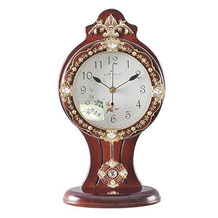 MOMO Reloj de Mesa Reloj con Tachuelas de Madera Europea Living Room Swing Reloj de Cuarzo