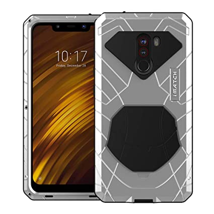 Cresee for Xiaomi Mi Pocophone F1, Hard Aluminum Metal Tempered Glass Screen Protector Cover, Heavy Duty Protection Rubber Bumper Military Shockproof ...