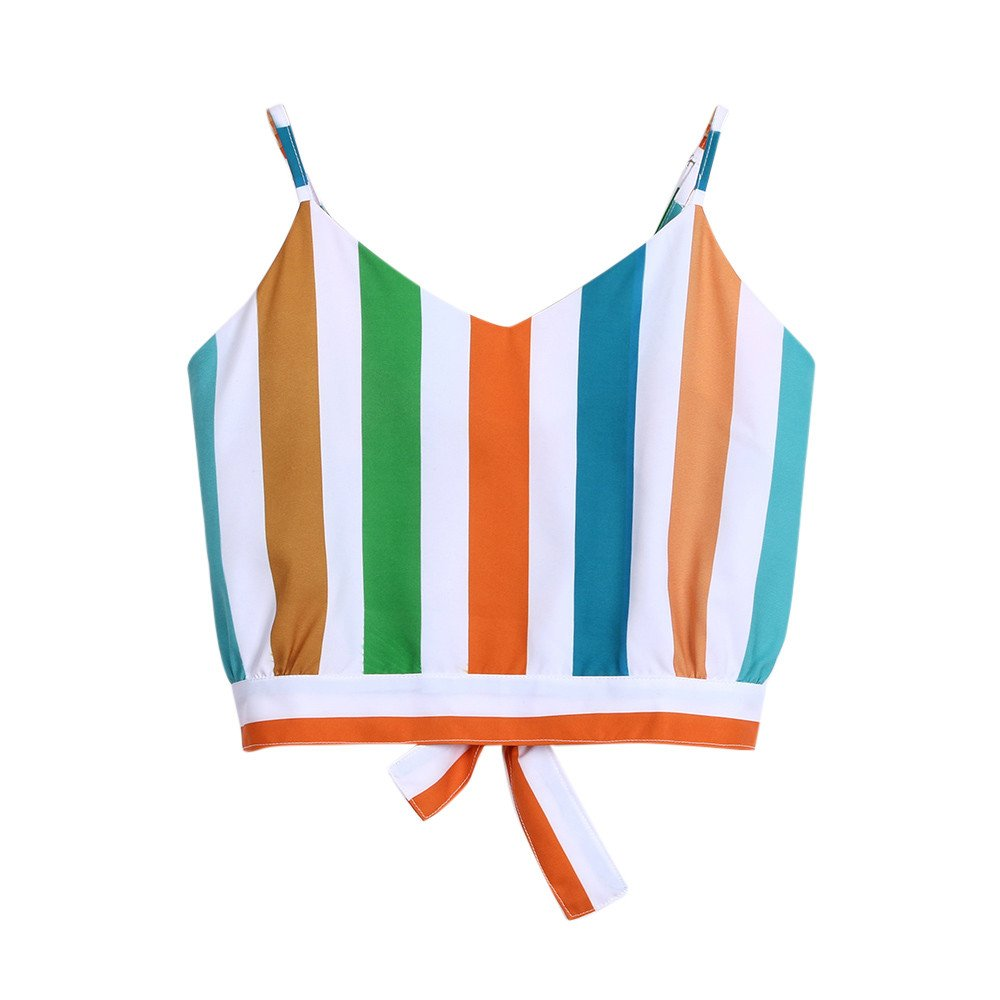 Women's Casual Tank Top, V Neck Multicolor Striped Stitching Self Tie Back Crop Tops Camisole Shirt Green