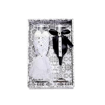 Feoowv - Vestido de boda para copas de vino, hecho a mano, copas de