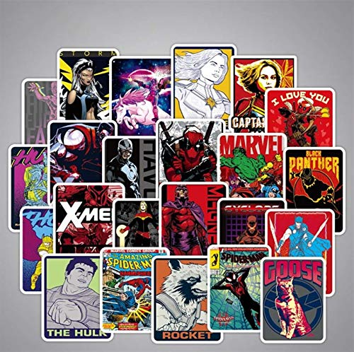 Anime Marvel Avengers Stickers Batman Super Hero Captain Deadpool Cartoon for Car Luggage Guitar Motorcycle Skateboard Stickers (30pcs)