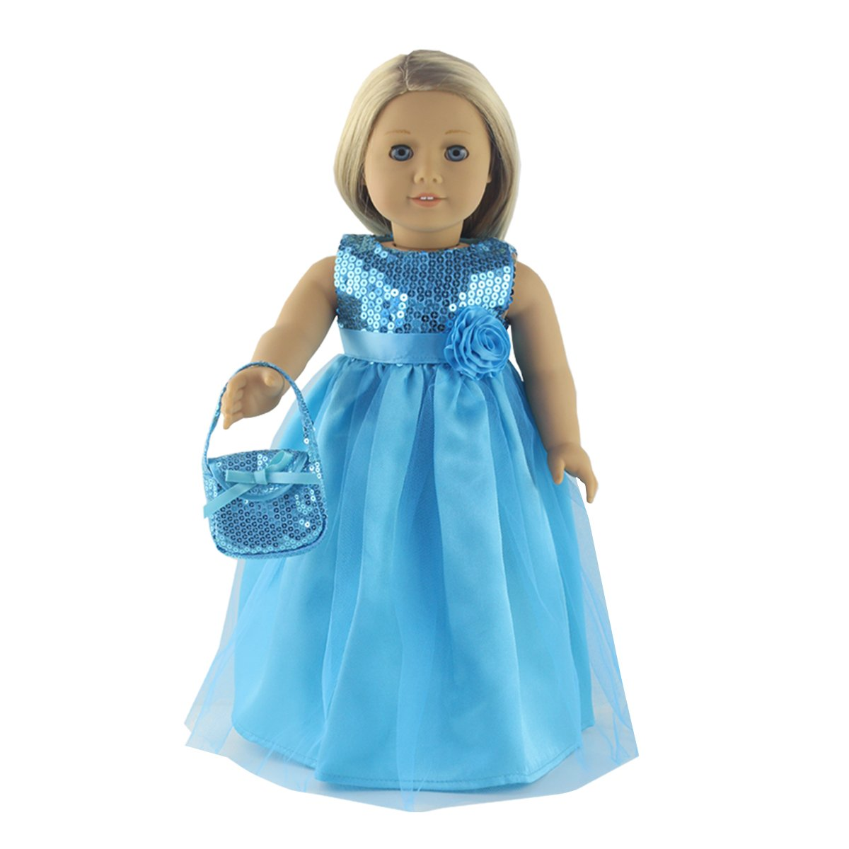 18 Inch Doll Clothes 2 Piece Teal Long Dress,Includes Teal Dress,Teal Handbag Fit 18 inch American Girl Dolls Fundolls
