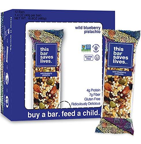 This Bar Saves Lives, All-Natural Gluten Free Whole Food Energy Snack Bar-- High Fiber Health Snack, Dairy Free, Kosher, Non GMO-- Wild Blueberry Pistachio Granola Bar, 1.4 Ounce, 12 Bars (Bar Pistachio)