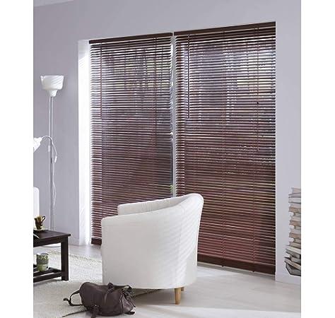 MADECO - Estor veneciano de madera de caoba, 27 mm, madera, marrón, 100 cm: Amazon.es: Hogar