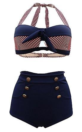 SISSIJOE Damen Bunt Retro PinUp Vintage Bikini mit hoher Taille Bademode  Badeanzug: Amazon.de: Bekleidung