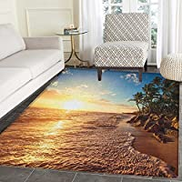 Tropical Anti-Skid Area Rug Palm Trees on Tropical Beach Sunrise Morning View Panoramic Nature Picture Door Mat Increase 5x6 Blue Yellow Brown