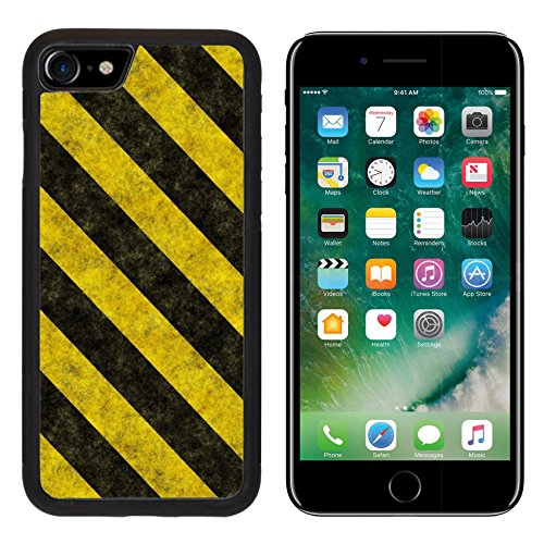 (Liili iPhone 7 Case and iPhone 8 Case Silicone Bumper Shockproof Anti-Scratch Resistant Tempered Glass Hard Cover Black Yellow Hazard Stripes as Grunge Background Photo 5677283)