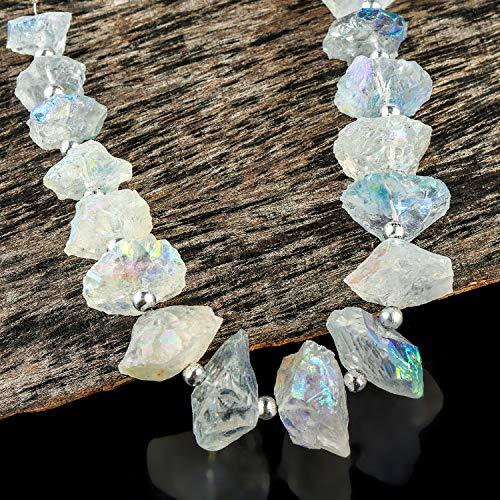 225+ cts Angel Aura Quartz Crystals, Mystic Aura Quartz, Rough Disc Strand, Natural Gemstone, Crystals Specimen, Rock Minerals, Crystals for Jewelry, Loose Beads Strand, 16+ Beads, 16cm Strand.