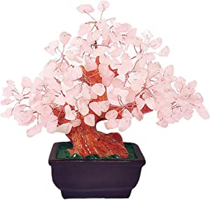 Colorsheng Natural Rose Quartz Crystal Money Tree Bonsai Style Decoration for Luck and Wealth (Pink)