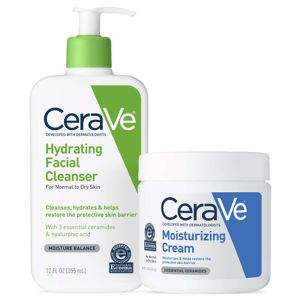 CeraVe Daily Skin Care Set for Dry Skin | Contains CeraVe Moisturizing Cream and Hydrating Face Wash | Fragrance Free