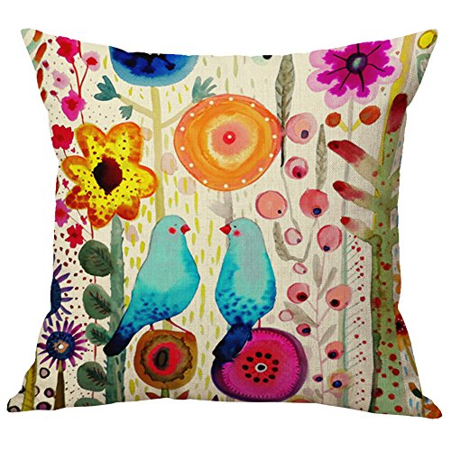 Pidada Throw Pillow Cases Flowers and Birds Square Cotton & Linen Cushion Pillow Covers for Sofa Home Decor, 18 X 18 Inches (Colourful 5)
