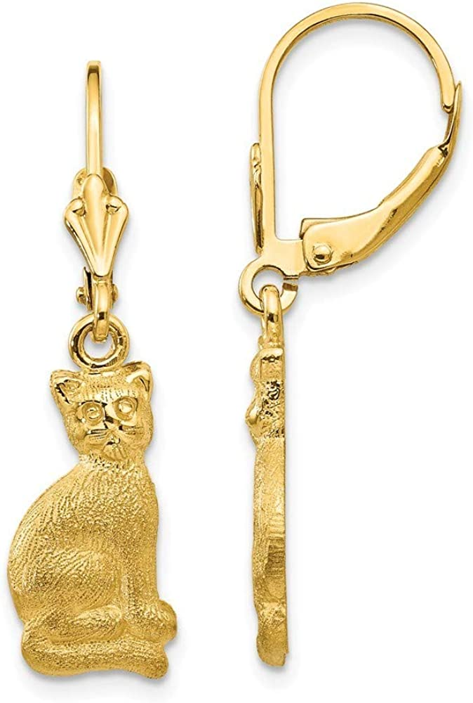 14k Yellow Gold Solid Polished and satin Satin Cat Dangle Leverback Earrings Jewelry Gifts for Women