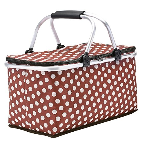 SUROY Picnic Basket, Insulated Folding Collapsible Market Picnic Basket Zip Closure Basket with Carrying Handles for Outdoor Picnic (Coffee Spot)