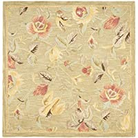 Safavieh Blossom Collection BLM785A Handmade Green and Multi Premium Wool Square Area Rug (6 Square)