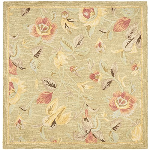 Safavieh Blossom Collection BLM785A Handmade Green and Multi Premium Wool Square Area Rug (6' Square) - Blossom Green Rug