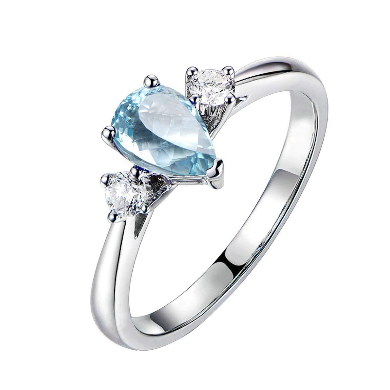 AMDXD Jewelry 925 Sterling Silver Wedding Rings for Women Blue Pear Cut Topaz Teardrop Ring