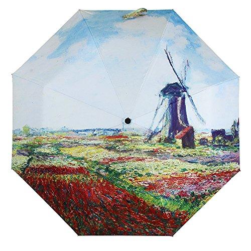 Molshine Anti-skid Matte Handle Rainning And Anti-UV Folding Umbrella for Women (windmill & flower) (Flowers Windmill)
