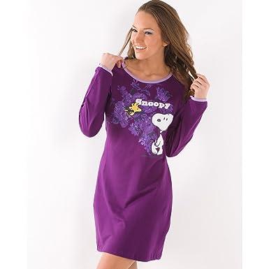 073fd66784 Camille Womens Knee Length Night Shirt Long Sleeve Cotton Snoopy Nightie  Purple L